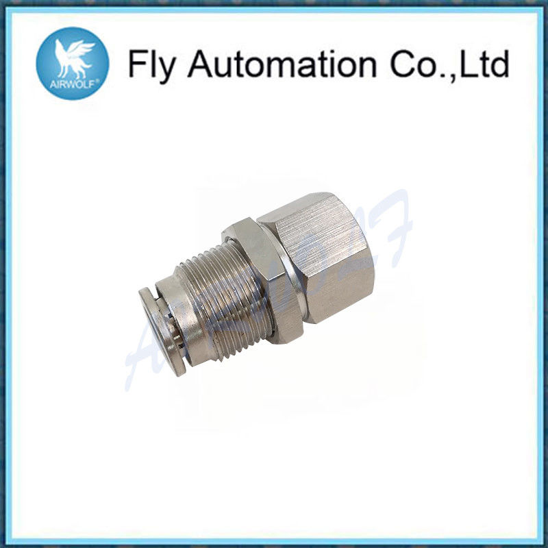 M6 * 9 Silvery Brass Tube Fittings , Internal Thread Through Connector G1 / 8