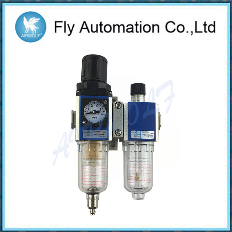 "1 / 4"" Automatic Black Air Preparation Units Aluminum Alloy Body Drain Type"