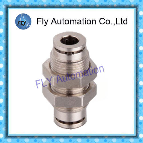 3/8 nickel-plated copper straight bulkhead push-in Pneumatic Tube Fittings PM series